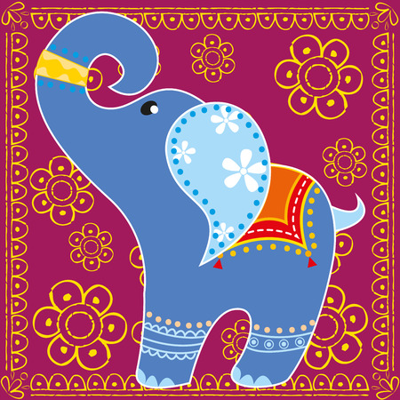 Indian elephant in bright colors Vector