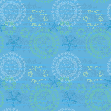 Beautiful texture with mandalas in blue Illustration