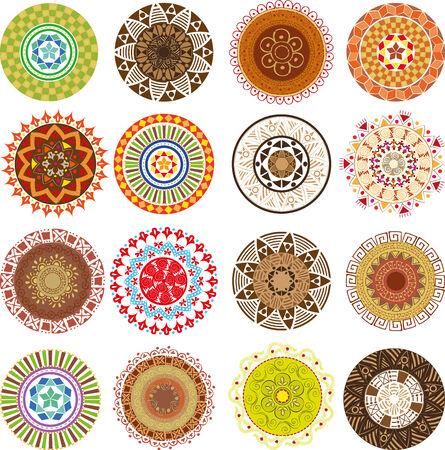 Big set of colored mandalas Illustration