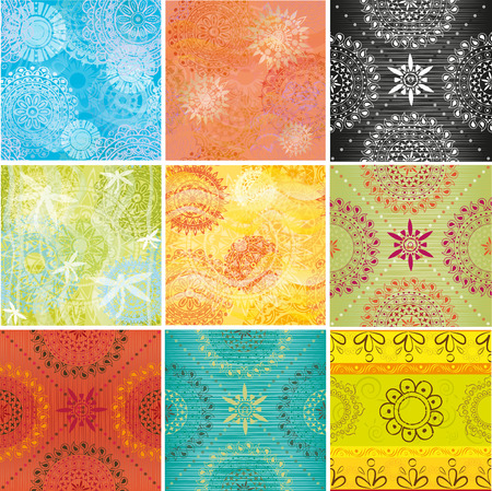 Big set of textures with Indian patterns