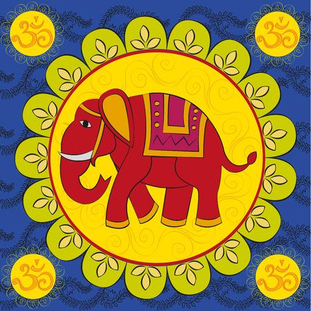 indian elephant: Elefante indio con el mandala y el signo Om Vectores