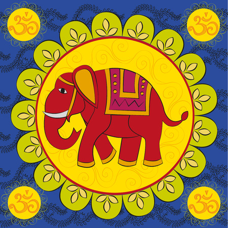 Indian elephant with the mandala and sign Om