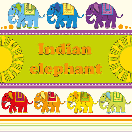 Vivid background with Indian elephants Illustration