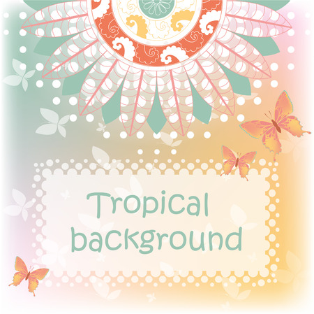 Tropical background with butterflies and mandala Illustration