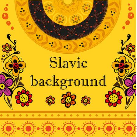 slavic: Slavic background with flowers and mandala Illustration