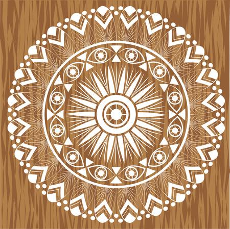 Mandala on wood background Illustration