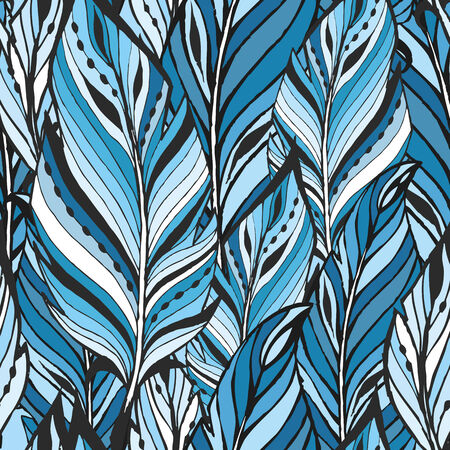 Pattern with feathers in cold tones