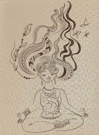 zerzaust: Meditierendes M�dchen mit zerzausten