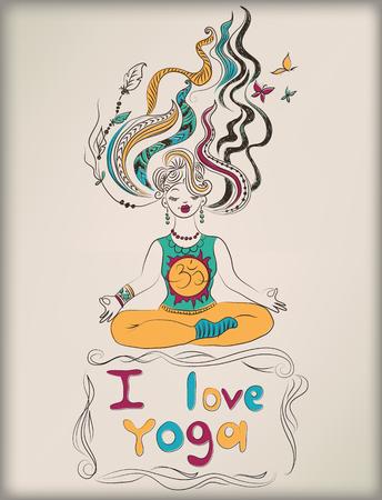 Woman practicing yoga Illustration