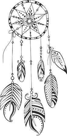 feathery: Dreamcatcher painted by hand Illustration
