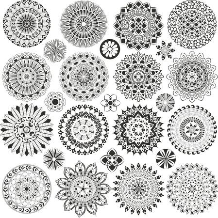 mandala tattoo: Big set of mandalas and flowers