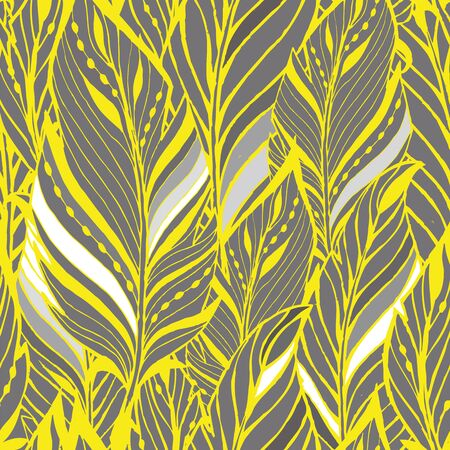 Texture with feathers in yellow and gray Illustration