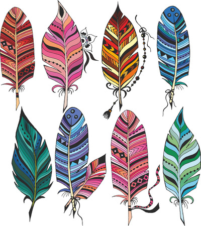 Big set of colorful feathers Illustration