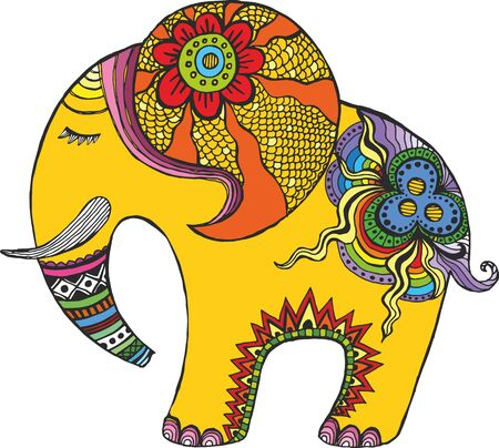 Indian elephant in rainbow colors