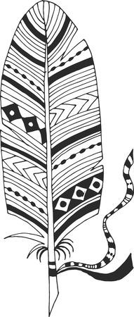 ethnics: Ethnic feather with tape Illustration