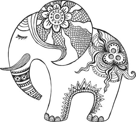 arte africano: Elefante indio pintado a mano. Vectores