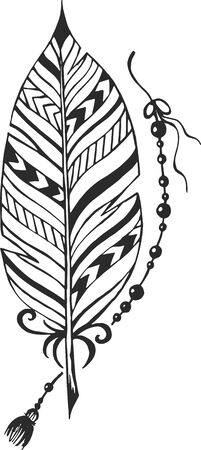 lightness: Ethnic feather with pattern Illustration