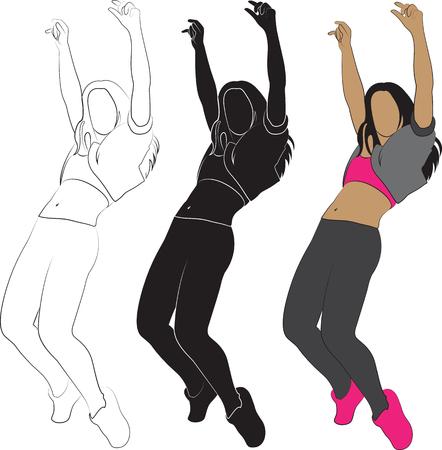 are modern: Dancing girl. Modern dance Illustration