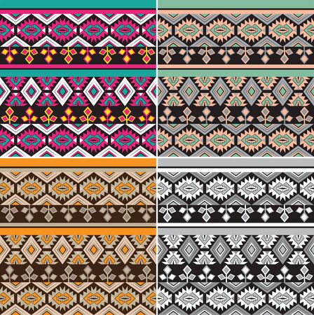 A set of texture with ethnic patterns Illustration