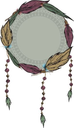 Round frame with feathers. Dreamcatcher