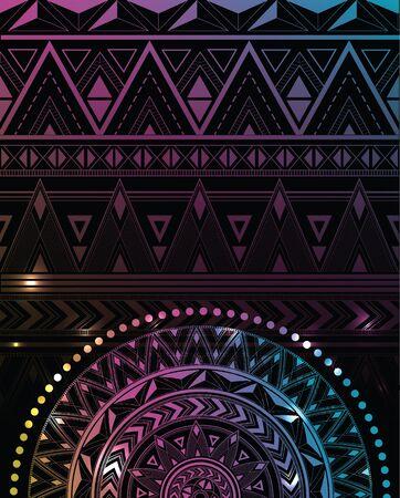 Ethnic patterns and mandala. Space background.