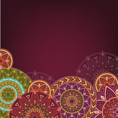 Bordo background with mandalas