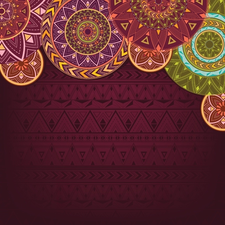 Bordo background with ethnic mandalas Ilustração