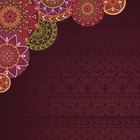 Ethnic background with mandalas and patterns.