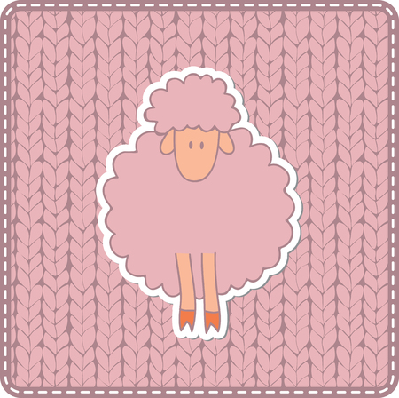 Pink knitted texture with sheep. Illustration