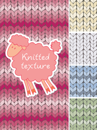 Set of different knitted texture. Multicoloured background.