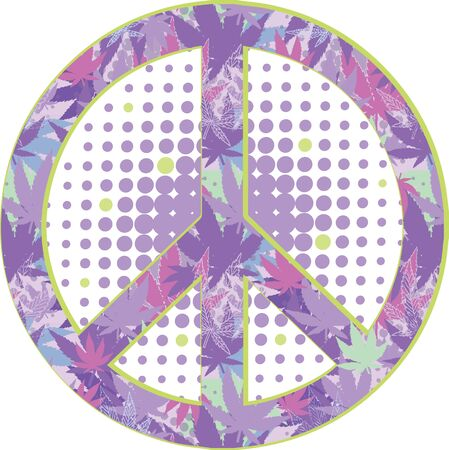 peace symbol with texture of cannabis.