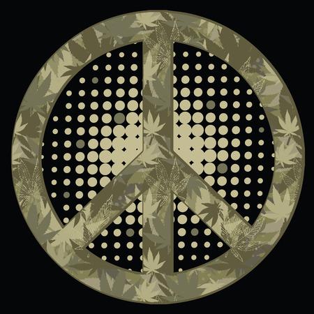 antiwar: peace symbol. Military style.