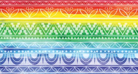 Rainbow background with a pattern. Illustration