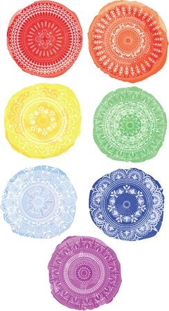 Watercolor circles. Circular ornament.