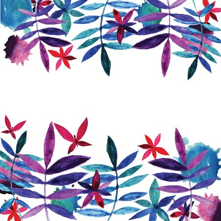 Watercolor flowers and leaves.