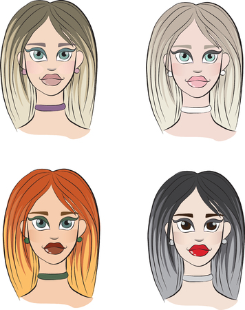 4 types of womens appearance Illustration