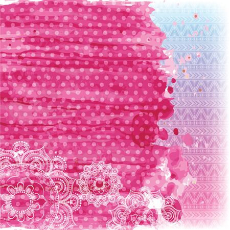 watercolor and patterns in pink tones