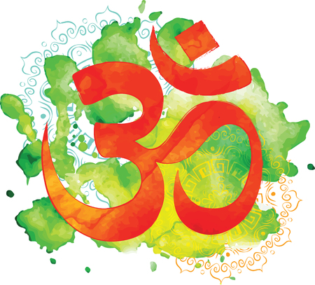 Om sign. Watercolor background.