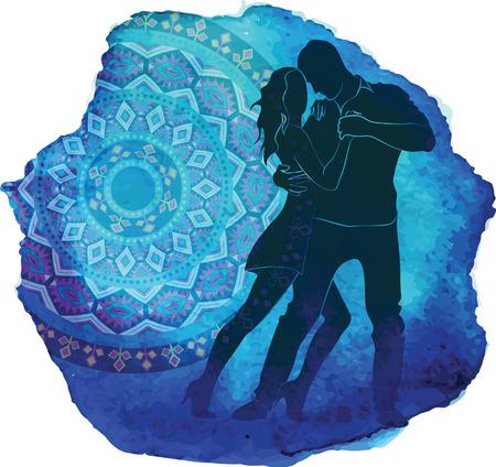 ダンスのカップルのシルエットです。