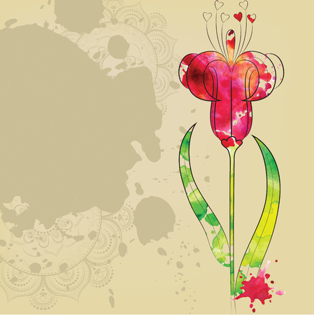 The outline of the flower.
