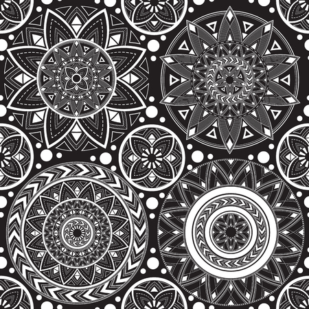 Black and white texture with mandalas. Illustration