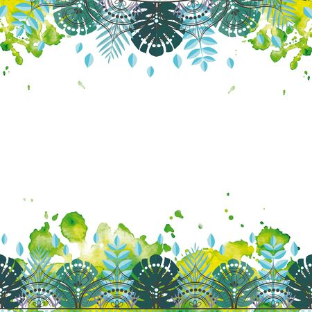 Pattern with tropical leaves. Illustration