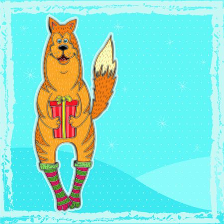 Yellow dog with a gift vector illustration.