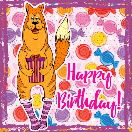 Happy Birthday Bright background with a yellow dog.