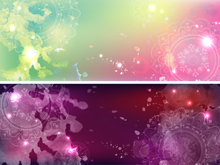 Set of banners with a galactic background. Banco de Imagens