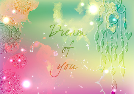 Colorful Love card design. Space background.