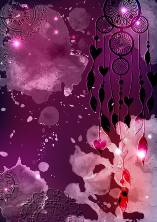 Galactic background with dreamcatcher.