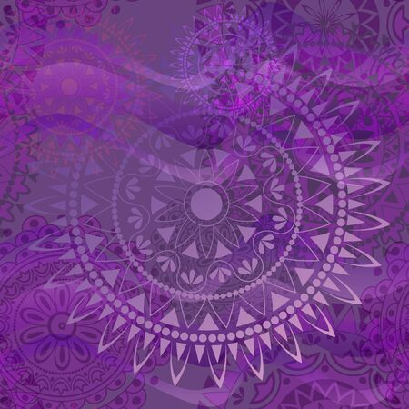 Purple texture with mandalas. Seamless ornament.