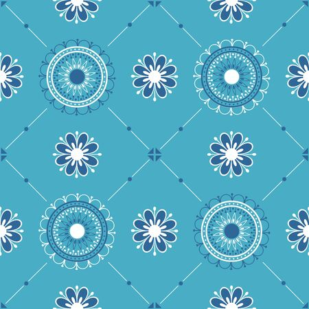 Seamless texture with white blue ornament.