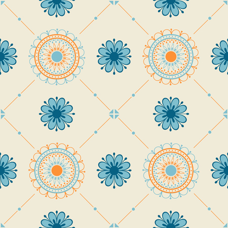 Seamless texture with a floral ornament. Vector illustration. 向量圖像